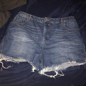 ASOS CURVE high waist frayed denim shorts